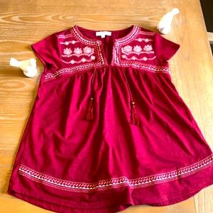 My style burgundy embroidered top